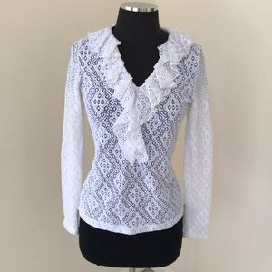 Sara Campbell white lace ruffled blouse